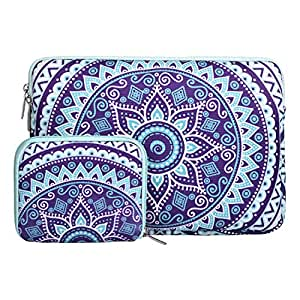 MOSISO 笔记本电脑内胆包帆布织物曼荼罗图案保护套带小箱 Ultra Violet & Green 14-15 Inch MO-15PM-Canvas-Mandala-Sleeve-UVMG
