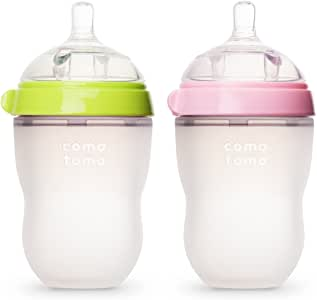 Comotomo 可么多么 天然感觉婴儿奶瓶,绿色和粉红色,250ml,8盎司(约226.80克)