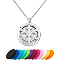 CoolJewelry 精油扩散器项链香薰雪花小盒式磁吊坠香水项链,配有 12 个色片