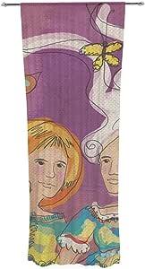 Kess InHouse Carina Povarchik Amigas 紫色人群装饰薄纱窗帘套装,76.2 cm x 213.36 cm
