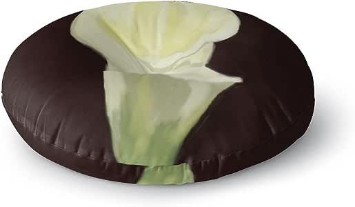 "KESS InHouse Cyndi Steen ""卡拉莉肖像""白色花卉圆形地板枕,58.42cm x 58.42cm 多种颜色 26"" x 26"" CS2039ARF02"