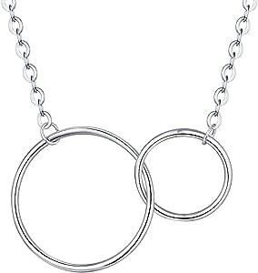 母女项链 infinity 两个 interlocking 圆圈吊坠适用于母亲节首饰礼品