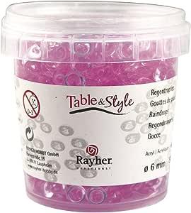 Rayher 3912116 丙烯酸雨滴,6毫米直径,罐装90克,玫瑰色