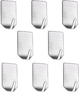 Sumnacon 迷你胶粘钥匙扣,重型不锈钢帽子钥匙毛巾挂钩,适用于厨房浴室办公室 Mini Hooks