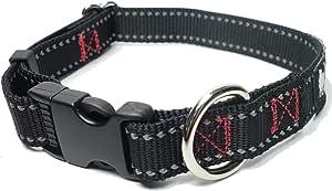 Leashboss 反光狗项圈 – 耐用 3/4 英寸(约 1.9 厘米)宽可调节尼龙高能见度,带标准无反光扣(小颈围 11-15 英寸(约 27.9 - 38.1 厘米),黑色反光)