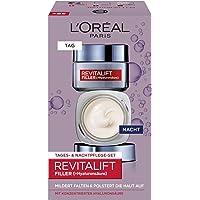 L'Oréal Paris Revitalift Filler Hyaluronsäure Anti-Aging Geschenkset, Tag und Nacht Gesichtscreme mit Hyaluronsäure hochdosiert, Anti-Falten Hyaluron Boost, 2x 50ml