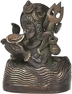 indianshelf 黄铜手工 lord 三 FACE shiva parvati 印度教 GOD 女神雕像在线小雕像雕塑