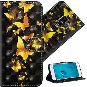 HMTECH 三星盖乐世 S9 手机壳高级 3D 彩色绘画钱包式翻盖 PU 皮革带卡槽设计全身保护壳 适用于三星 Galaxy S9 A] YX-3DWallet-01