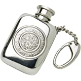 Edwin Blyde & Co Pocket Design with Embossed Celtic Scroll and Soft Corner Shape with Key Chain Spirit Flask, Pewter, 1.2 oz