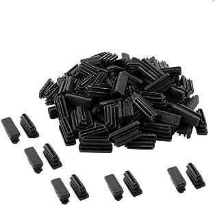 Saim 塑料圆管罗纹插入端盖盖地板家具方形椅子保护管插入椅腿盖长方形塑料管塞 80Pcs OD Rectangle 10mm x 30mm Black G100JJ010886