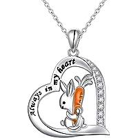 YinShan 兔子项链女士少女 925 纯银兔子吊坠带信息永远在我的心中可爱动物首饰