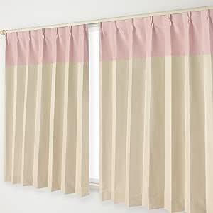 ナチュラル遮光カーテン Aフック 24.ピンクヘッド×ベージュ 幅100×丈190cm 2枚組