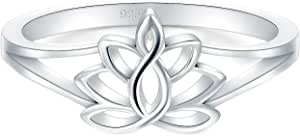 BORUO 925 纯银戒指,莲花瑜伽高抛光*舒适佩戴婚戒 2mm 戒指