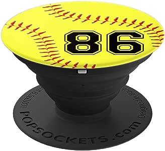 垒球 #86 垒球运动员球衣 No 86 手机握把礼物 - 手机和平板电脑的 PopSockets 握把和支架260027  黑色