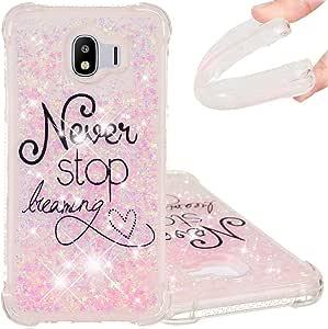 EMAXELER Galaxy J4 2018 手机壳 Galaxy J4 2018 手机壳 3D 创意设计卡通图案防摔快沙闪亮液体 TPU 软壳 适用于三星 Galaxy J4 2018 TPU Never Stop