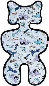 Bebamour 3D 网眼婴儿车衬垫 婴儿/婴儿   靠垫   垫子   凉爽座椅垫   汽车座椅 尺寸 38 70cm 婴儿靠垫 (蓝色恐龙)