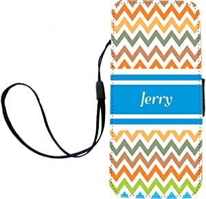 """Rikki Knight """"Jerry"""" Blue Chevron Name Flip Wallet iPhoneCase with Magnetic Flap for iPhone 5/5s - """"Jerry"""" Blue Chevron Name"""
