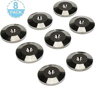 8 件扬声器尖钉地板保护器,黑色镀镍减震底座垫 5X25MM 鞋垫地板保护通用铜扬声器尖钉垫适用于音频转盘扬声器 CD AMP