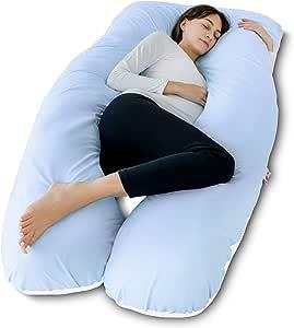 meiz U 形身体孕妇枕头带拉链可拆卸天鹅绒套灰色 Blue&white 60 Inch