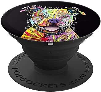 彩色公牛 - 斗牛 艺术彩色狗狗礼物 PopSockets 握把和支架 适用于手机和平板电脑260027  黑色