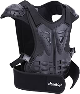 """Webetop 儿童越野车身胸脊保护护甲防护装备 L for height 51""""-57"""" 黑色 Web3078-3"""