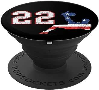 足球运动员编号 22 带美国国旗自行车踢球 - 适用于手机和平板电脑的 PopSockets 抓地力和支架260027  黑色