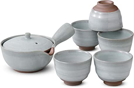 茶器 时尚 : 粉引 茶壶 套装 Japanese Tea set(Tea pot x1pcs/Cup x5pcs) Pottery/Size(cm) 17.3x11.5x8.3, Φ7.5x5.5/No:394174