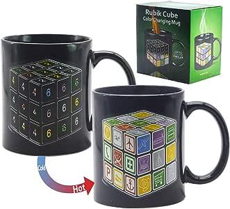 热变化太阳能系统魔法咖啡杯热敏陶瓷茶杯(10 盎司) - Antspirit 出品 Rubik's MFB171213002XJ