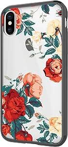 iPhone X 手机壳,Skmy Liquid Glitter 发光女孩女士可爱透明 TPU + 防震硬 PC 保护壳适用于 Apple iPhone X 智能手机 5.8 英寸(紫色)iPhone XS Z-Rose Flower