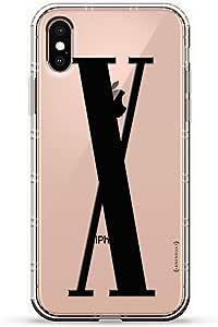 Luxendary Air 系列透明硅胶保护套 3D 印花设计气袋缓冲缓冲 iPhone Xs/X(5.8 英寸屏幕)LUX-IXAIR-INITIALX3  BLACK INITIAL X3 透明