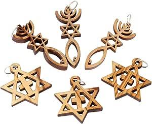 弥赛尼印章 - 六件套耶路撒冷橄榄木吊坠,伯利恒制造