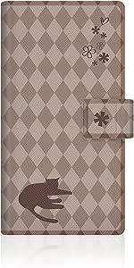 CaseMarket NYAGO ARROWS NX (F-02G) 笔记本型 原创设计 细长 保护壳 [ NYAGO 笔记本 法国 花 日记 猫 轮廓 菱形花纹 & 倾情? - 巧克力色]