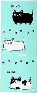 Ceramic-ai 手拭 擦手巾 猫3兄弟 猫3兄弟3匹 ブルー 約90×35cm -