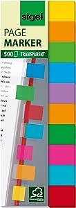 Sigel HN684 页记号笔,粘性旗帜,索引标签旗帜,胶片,可移除,透明多色带密集彩色笔尖(10 种不同颜色),1.59x1.97 英寸,棋盘上有 500 条