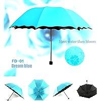 多彩生活女士雨伞,女士太阳伞,小巧雨伞,带 Met Water Begin Bloom 和单手操作。