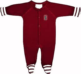 NCAA 斯坦福红雀婴儿条纹连脚爬行服,早产儿,深红色