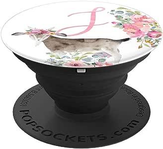 粉色山羊农场女孩花朵字母名字首字母 J - PopSockets 手机和平板电脑抓握支架260027  黑色