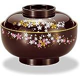 Mitani 山中漆器 汤碗 深棕色 13.3厘米 山中涂装 樱花 四季 杂煮碗 M17180-8