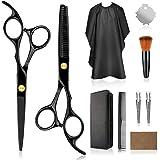 专业家用理发套件 – 优质家用理发剪刀理发师/沙龙/家用修薄剪套装带梳子和盒子,男女皆宜