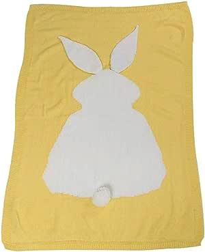 """婴儿床针织毯 柔软婴儿抱被 中性 婴儿车套 42x28 英寸 兔子图案 黄色 42"""" x 28"""""""