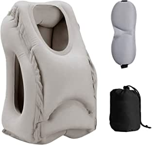 Sweesire 旅行枕,便携式充气飞机枕,儿童旅行枕,头颈托和*助手,适用于飞机、汽车、巴士、火车、办公室午餐、露营 - 储物袋和眼罩 灰色 7 x 5.1 inches grey travel pillow