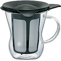 HARIO 好璃奥 日本创意玻璃杯 带盖 过滤网泡茶杯 咖啡杯OTM-1B 黑色 200ml