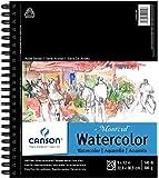 Canson Artist Series Montval 水彩纸垫,重量级冷压和微孔,侧线绑定,140 磅,9 x 12…