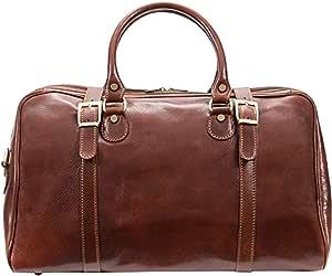 alberto BELLUCCI 意大利皮革 carry-on 旅行者旅行包棕色行李袋 棕色 均码