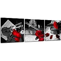 红玫瑰花帆布墙壁艺术小提琴音乐艺术墙壁装饰乐器黑白现代艺术卧室浴室办公室艺术品