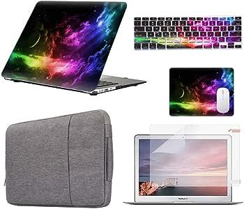 "Funut - 5 合 1 套优惠橡胶涂层光面塑料硬壳、键盘保护套、屏幕保护膜、鼠标垫和保护套包适用于 Apple MacBook Air 13 英寸 (A1369/A1466) - Sea Wave (A1502, A1425) MacBook Pro 13"" Retina 星云"