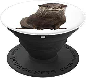 Mother Otter Looking For Her Baby Otter - PopSockets 手机和平板电脑握架260027  Mother Otter Looking For Her Baby Otter 黑色