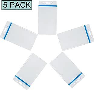 12 个垂直 4x3 姓名徽章夹透明塑料防水类型 PVC 证件卡夹,可重新拔插拉链会议名称袋7.62cm x 10.16cm 夹子,10.16cm x 7.62cm Quick Loadi