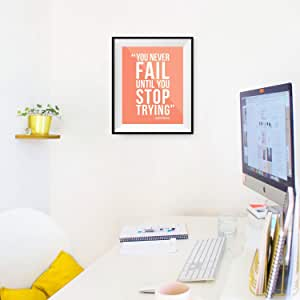 You Never Fail Until You Stop Trying - 墙面装饰海报印刷品 - 现代灵感艺术展示 鲑鱼色 11x14 Unframed FAILSTOP
