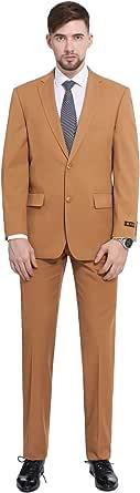 P&L 男式 2 件套经典合身 2 粒扣办公室正装外套和褶皱裤子套装 金棕色 58 Regular / 54 Waist